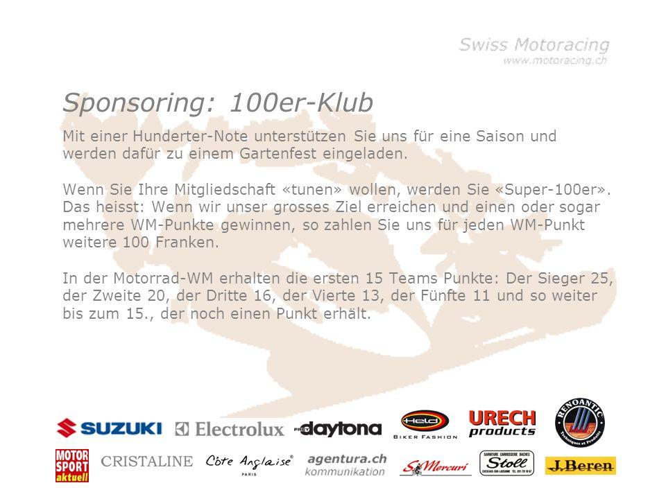 Sponsoring: 100er-Klub Mit einer Hunderter-Note unterstützen Sie uns für eine Saison und werden dafür zu einem Gartenfest eingeladen.