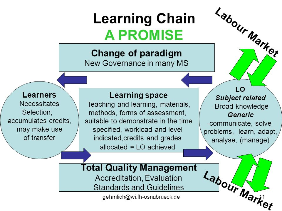 gehmlich@wi.fh-osnabrueck.de11 Learning Chain A PROMISE LO Subject related -Broad knowledge Generic -communicate, solve problems, learn, adapt, analys