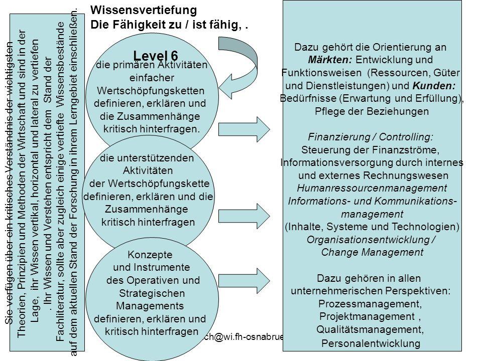 gehmlich@wi.fh-osnabrueck.de26 Sie verfügen über ein kritisches Verständnis der wichtigsten Theorien, Prinzipien und Methoden der Wirtschaft und sind in der Lage, ihr Wissen vertikal, horizontal und lateral zu vertiefen.