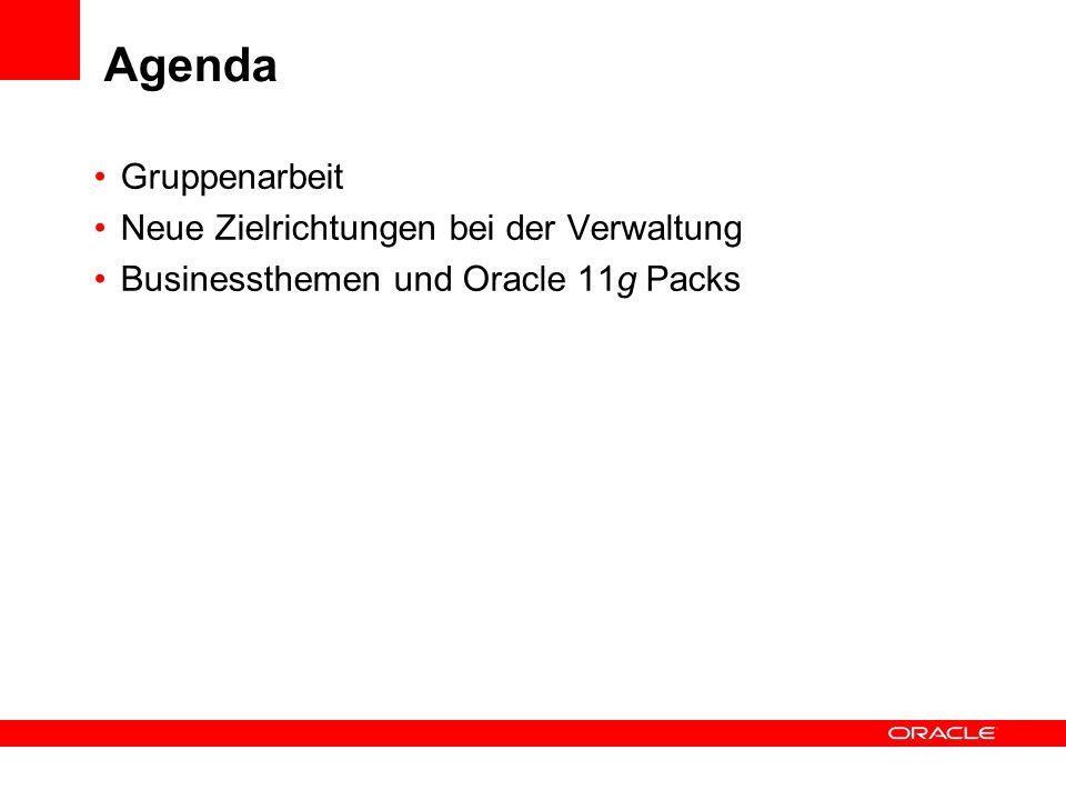 Agenda Gruppenarbeit Neue Zielrichtungen bei der Verwaltung Businessthemen und Oracle 11g Packs
