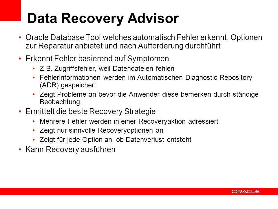 Data Recovery Advisor Oracle Database Tool welches automatisch Fehler erkennt, Optionen zur Reparatur anbietet und nach Aufforderung durchführt Erkenn