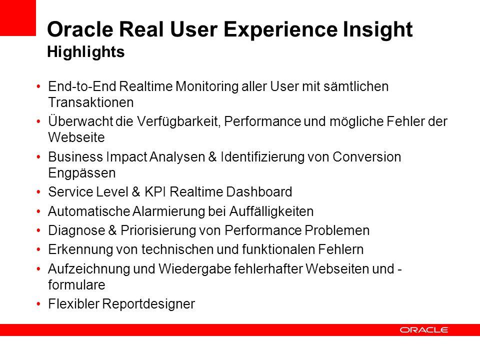 Oracle Real User Experience Insight Highlights End-to-End Realtime Monitoring aller User mit sämtlichen Transaktionen Überwacht die Verfügbarkeit, Per