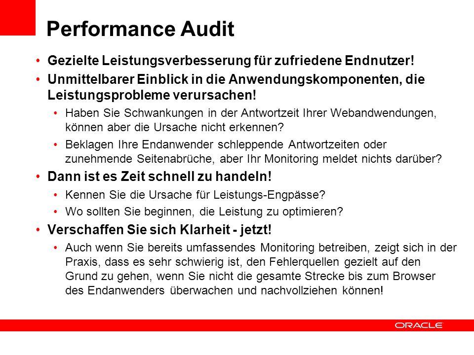 Performance Audit Gezielte Leistungsverbesserung für zufriedene Endnutzer! Unmittelbarer Einblick in die Anwendungskomponenten, die Leistungsprobleme