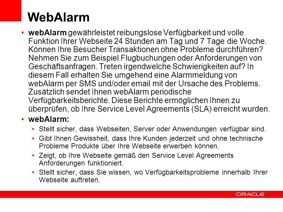 WebAlarm webAlarm gewährleistet reibungslose Verfügbarkeit und volle Funktion Ihrer Webseite 24 Stunden am Tag und 7 Tage die Woche. Können Ihre Besuc