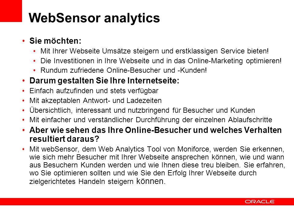 WebSensor analytics Sie möchten: Mit Ihrer Webseite Umsätze steigern und erstklassigen Service bieten! Die Investitionen in Ihre Webseite und in das O