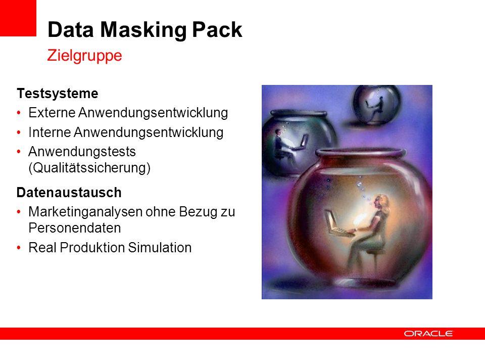 Data Masking Pack Zielgruppe Testsysteme Externe Anwendungsentwicklung Interne Anwendungsentwicklung Anwendungstests (Qualitätssicherung) Datenaustaus