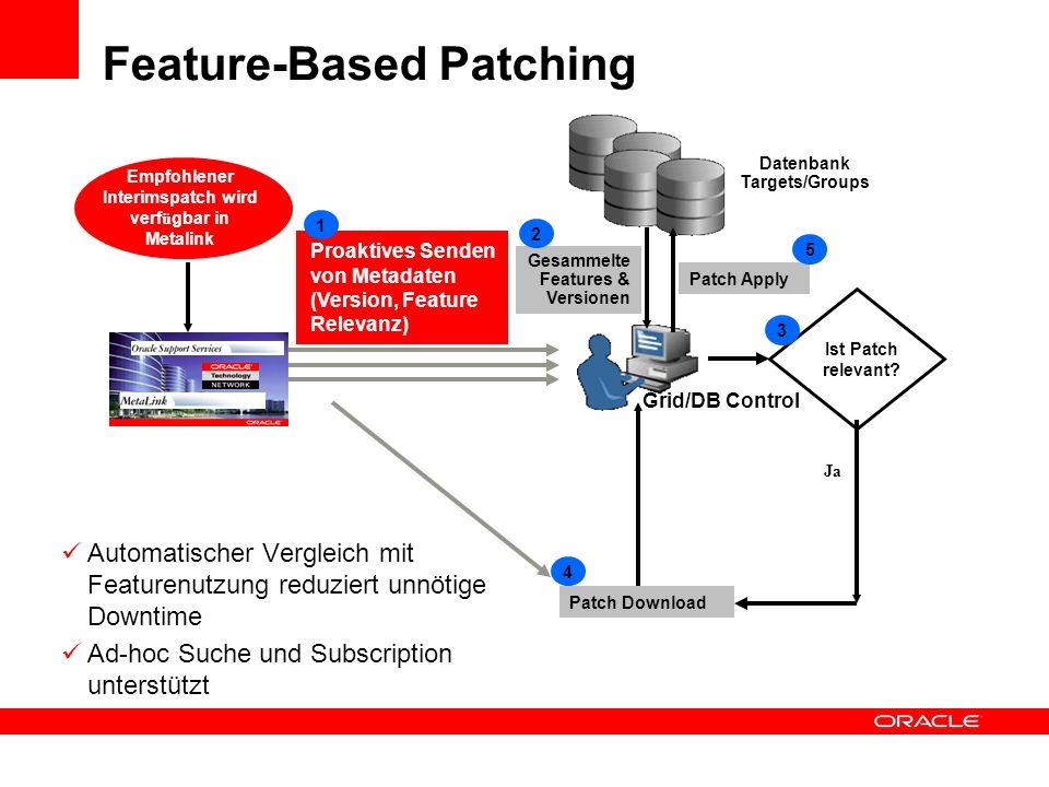 Feature-Based Patching Automatischer Vergleich mit Featurenutzung reduziert unnötige Downtime Ad-hoc Suche und Subscription unterstützt Ja Proaktives