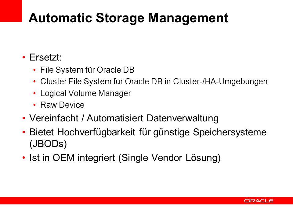 Ersetzt: File System für Oracle DB Cluster File System für Oracle DB in Cluster-/HA-Umgebungen Logical Volume Manager Raw Device Vereinfacht / Automat