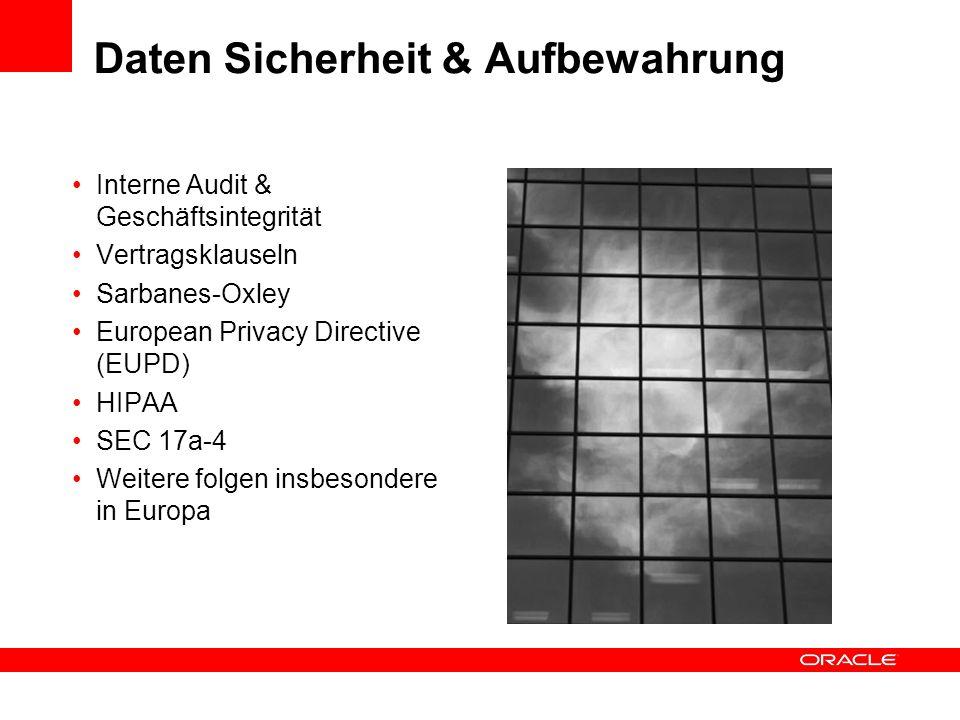 Daten Sicherheit & Aufbewahrung Interne Audit & Geschäftsintegrität Vertragsklauseln Sarbanes-Oxley European Privacy Directive (EUPD) HIPAA SEC 17a-4