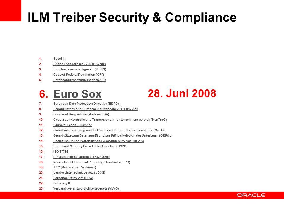1.Basel IIBasel II 2.British Standard Nr. 7799 (BS7799)British Standard Nr. 7799 (BS7799) 3.Bundesdatenschutzgesetz (BDSG)Bundesdatenschutzgesetz (BDS