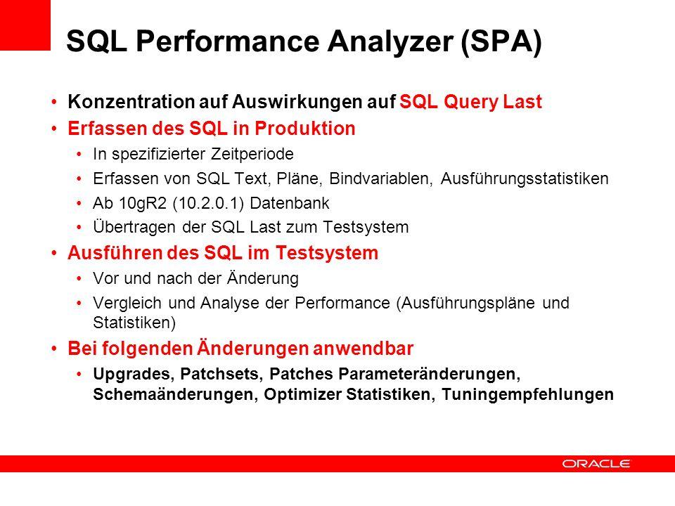 SQL Performance Analyzer (SPA) Konzentration auf Auswirkungen auf SQL Query Last Erfassen des SQL in Produktion In spezifizierter Zeitperiode Erfassen