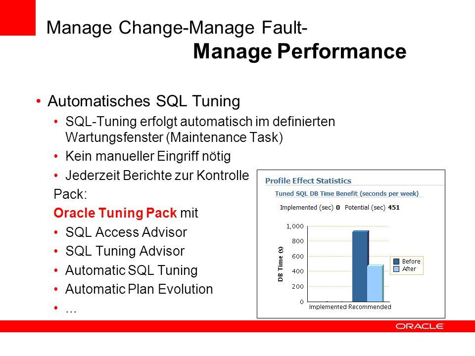 Manage Change-Manage Fault- Manage Performance Automatisches SQL Tuning SQL-Tuning erfolgt automatisch im definierten Wartungsfenster (Maintenance Tas