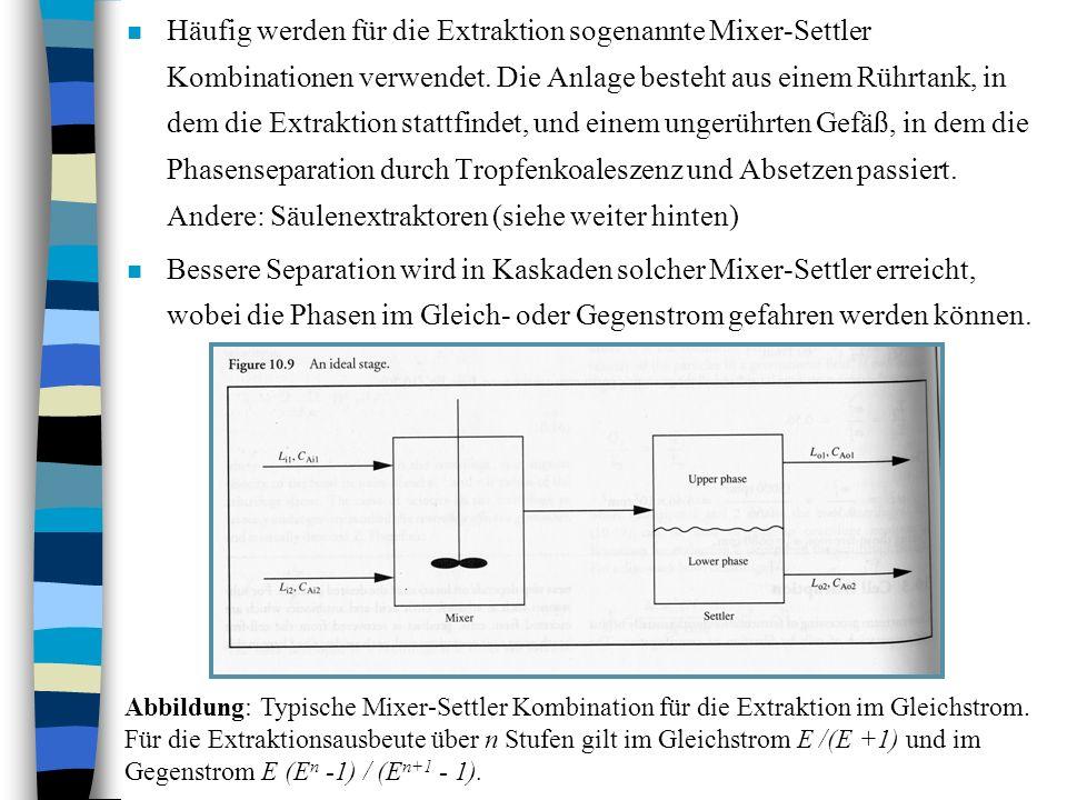 n Häufig werden für die Extraktion sogenannte Mixer-Settler Kombinationen verwendet. Die Anlage besteht aus einem Rührtank, in dem die Extraktion stat