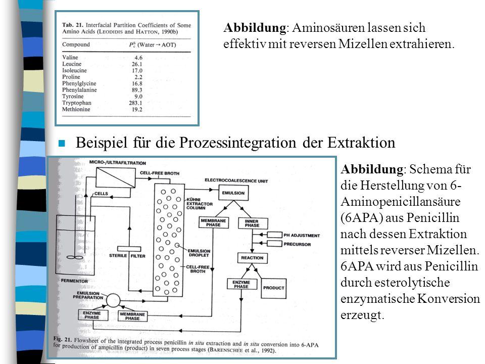 Abbildung: Aminosäuren lassen sich effektiv mit reversen Mizellen extrahieren. n Beispiel für die Prozessintegration der Extraktion Abbildung: Schema