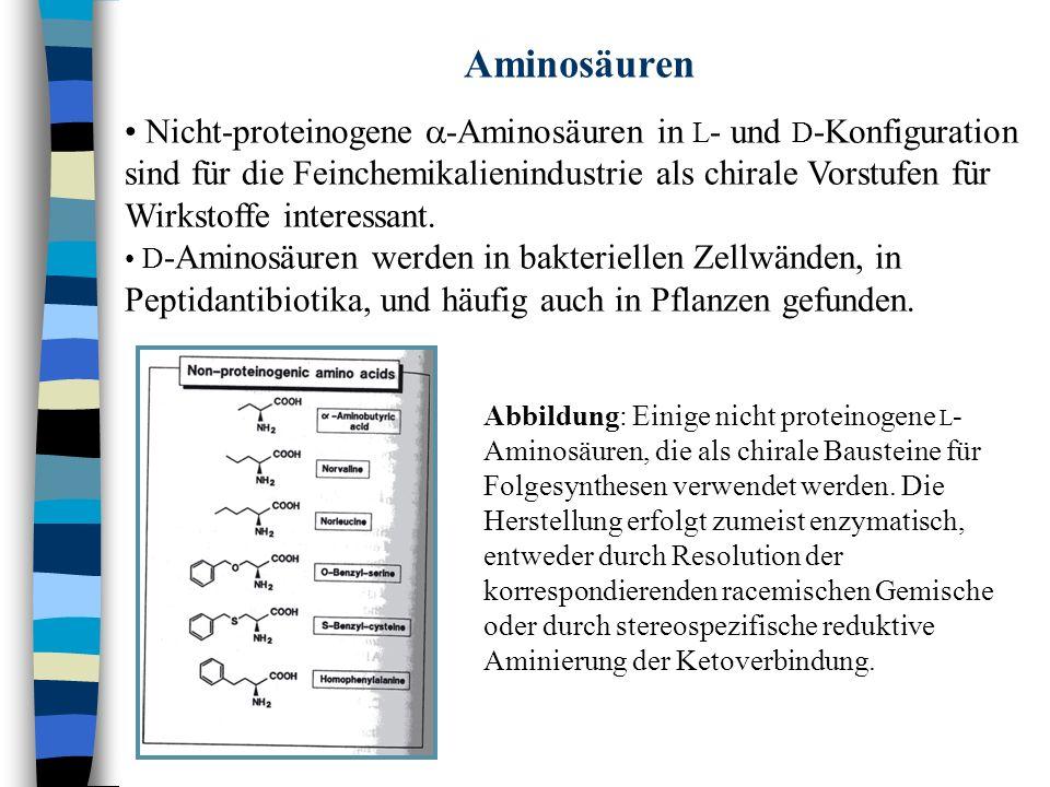 n Enzymatische Prozesse Abbildung: Strategie zur Herstellung enantiome- renreiner D - oder L - Aminosäuren aus Hydantoinen, zyklisch geschützten Aminosäuren.