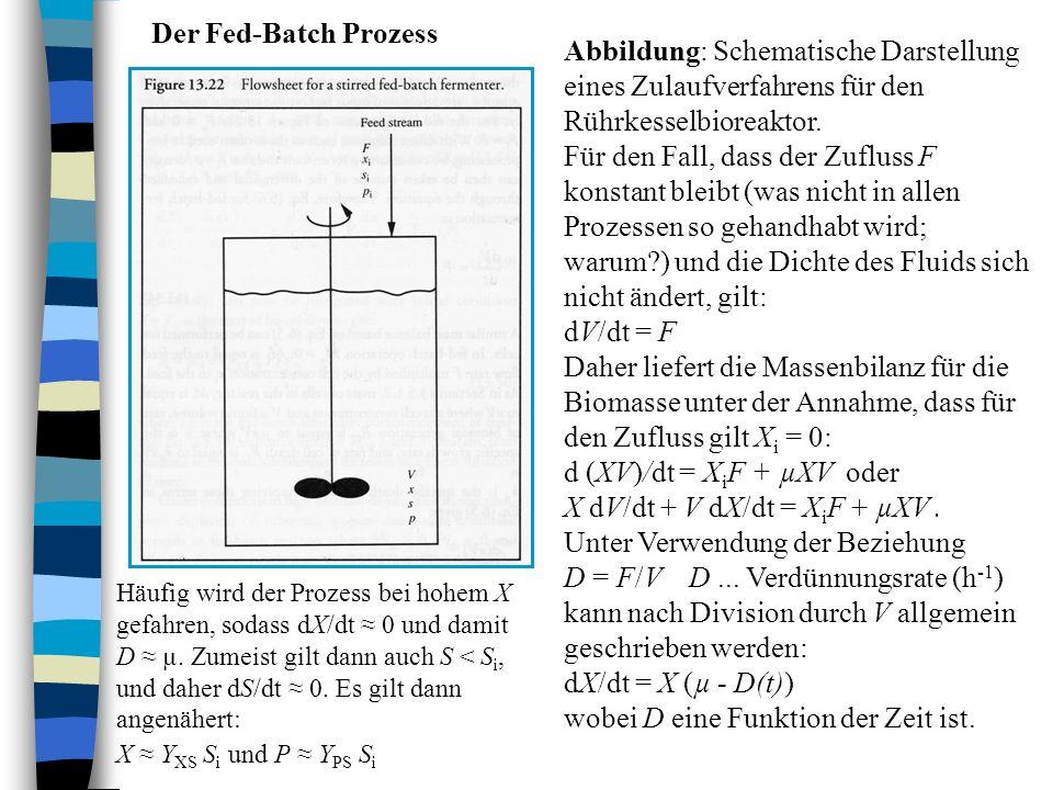 Der Fed-Batch Prozess Abbildung: Schematische Darstellung eines Zulaufverfahrens für den Rührkesselbioreaktor. Für den Fall, dass der Zufluss F konsta