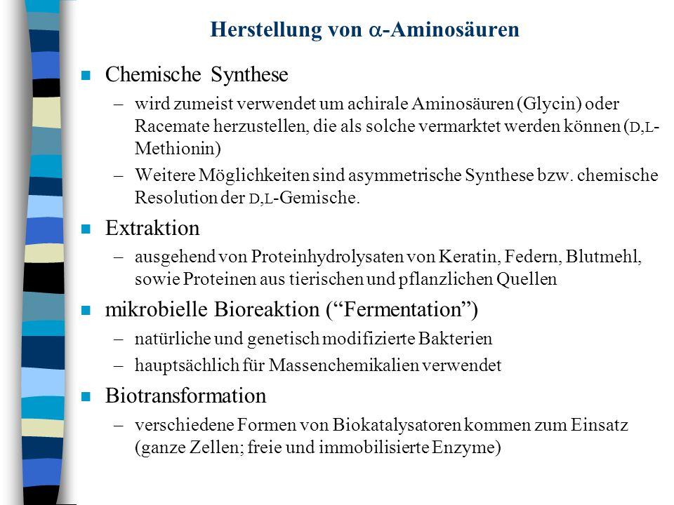 Herstellung von -Aminosäuren n Chemische Synthese –wird zumeist verwendet um achirale Aminosäuren (Glycin) oder Racemate herzustellen, die als solche