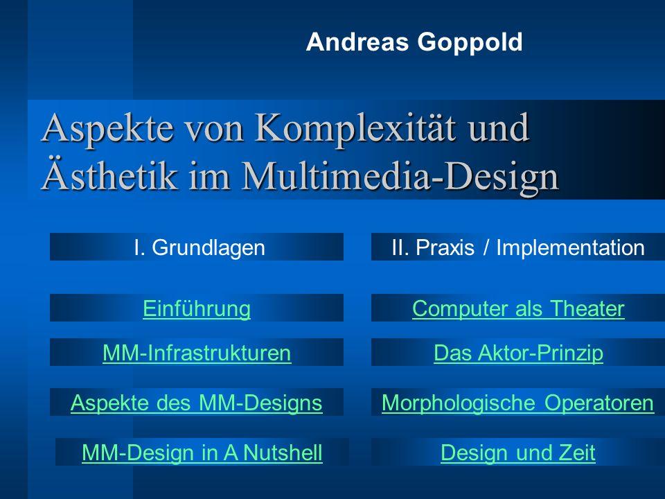 Aspekte von Komplexität und Ästhetik im Multimedia-Design Andreas Goppold Aspekte des MM-Designs Das Aktor-PrinzipMM-Infrastrukturen MM-Design in A Nu