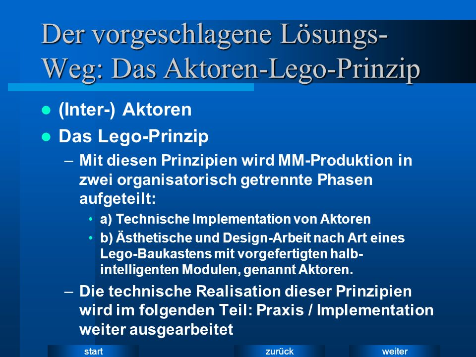 weiter zurück start Der vorgeschlagene Lösungs- Weg: Das Aktoren-Lego-Prinzip (Inter-) Aktoren Das Lego-Prinzip –Mit diesen Prinzipien wird MM-Produkt