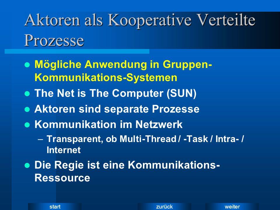 weiter zurück start Aktoren als Kooperative Verteilte Prozesse Mögliche Anwendung in Gruppen- Kommunikations-Systemen The Net is The Computer (SUN) Aktoren sind separate Prozesse Kommunikation im Netzwerk –Transparent, ob Multi-Thread / -Task / Intra- / Internet Die Regie ist eine Kommunikations- Ressource