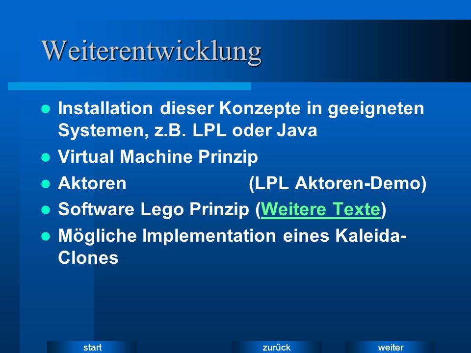 weiter zurück startWeiterentwicklung Installation dieser Konzepte in geeigneten Systemen, z.B. LPL oder Java Virtual Machine Prinzip Aktoren (LPL Akto