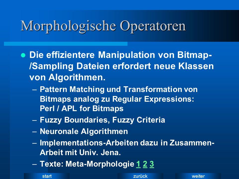weiter zurück start Morphologische Operatoren Die effizientere Manipulation von Bitmap- /Sampling Dateien erfordert neue Klassen von Algorithmen. –Pat