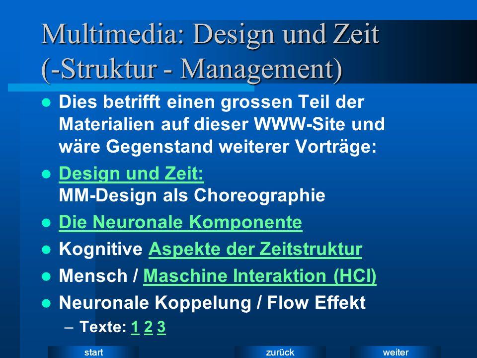 weiter zurück start Multimedia: Design und Zeit (-Struktur - Management) Dies betrifft einen grossen Teil der Materialien auf dieser WWW-Site und wäre Gegenstand weiterer Vorträge: Design und Zeit: MM-Design als Choreographie Design und Zeit: Die Neuronale Komponente Die Neuronale Komponente Kognitive Aspekte der ZeitstrukturAspekte der Zeitstruktur Mensch / Maschine Interaktion (HCI)Maschine Interaktion (HCI) Neuronale Koppelung / Flow Effekt –Texte: 1 2 3123