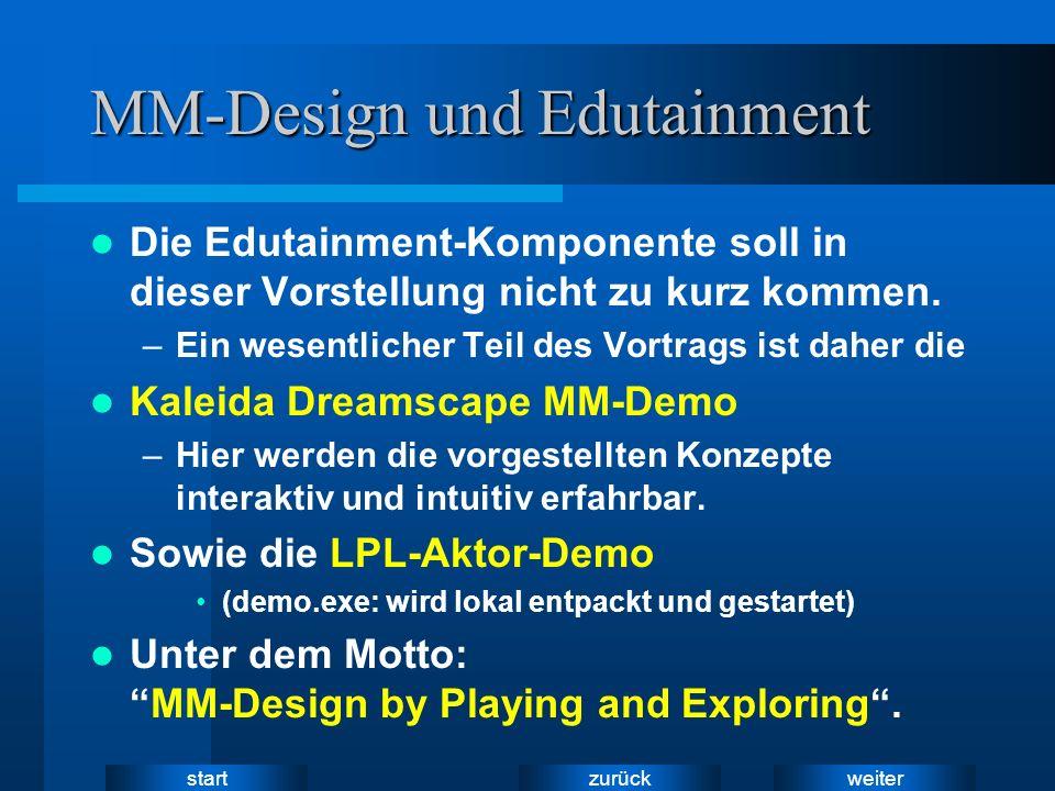 weiter zurück start MM-Design und Edutainment Die Edutainment-Komponente soll in dieser Vorstellung nicht zu kurz kommen. –Ein wesentlicher Teil des V