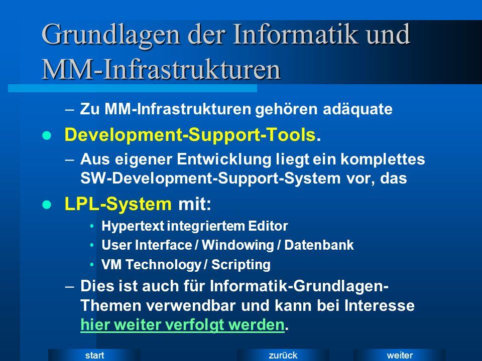 weiter zurück start Grundlagen der Informatik und MM-Infrastrukturen –Zu MM-Infrastrukturen gehören adäquate Development-Support-Tools.