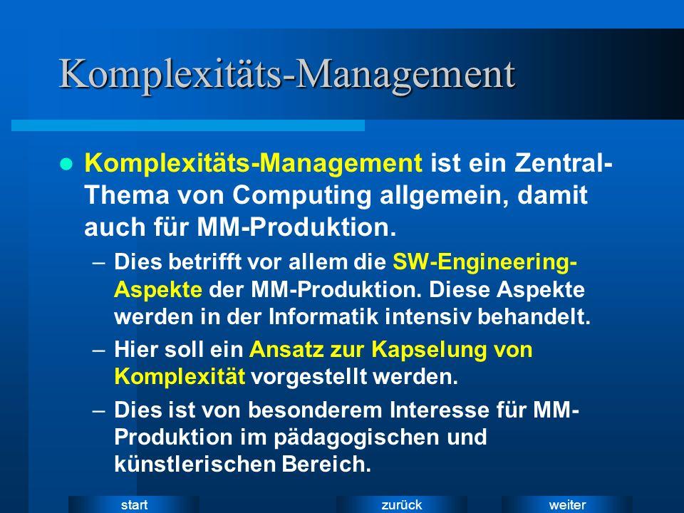 weiter zurück startKomplexitäts-Management Komplexitäts-Management ist ein Zentral- Thema von Computing allgemein, damit auch für MM-Produktion. –Dies