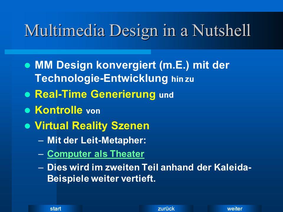weiter zurück start Multimedia Design in a Nutshell MM Design konvergiert (m.E.) mit der Technologie-Entwicklung hin zu Real-Time Generierung und Kontrolle von Virtual Reality Szenen –Mit der Leit-Metapher: –Computer als TheaterComputer als Theater –Dies wird im zweiten Teil anhand der Kaleida- Beispiele weiter vertieft.