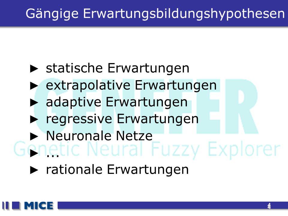 4 4 Gängige Erwartungsbildungshypothesen statische Erwartungen extrapolative Erwartungen adaptive Erwartungen regressive Erwartungen Neuronale Netze..