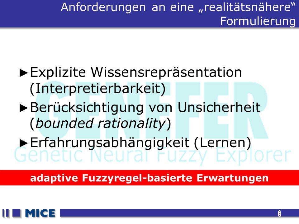 6 6 adaptive Fuzzyregel-basierte Erwartungen Anforderungen an eine realitätsnähere Formulierung Explizite Wissensrepräsentation (Interpretierbarkeit) Berücksichtigung von Unsicherheit (bounded rationality) Erfahrungsabhängigkeit (Lernen)
