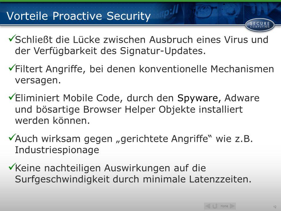 Home 12 Vorteile Proactive Security Schließt die Lücke zwischen Ausbruch eines Virus und der Verfügbarkeit des Signatur-Updates. Filtert Angriffe, bei