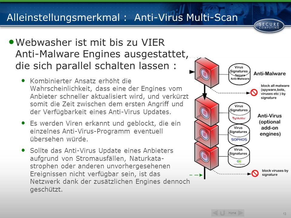Home 13 Alleinstellungsmerkmal : Anti-Virus Multi-Scan Webwasher ist mit bis zu VIER Anti-Malware Engines ausgestattet, die sich parallel schalten las