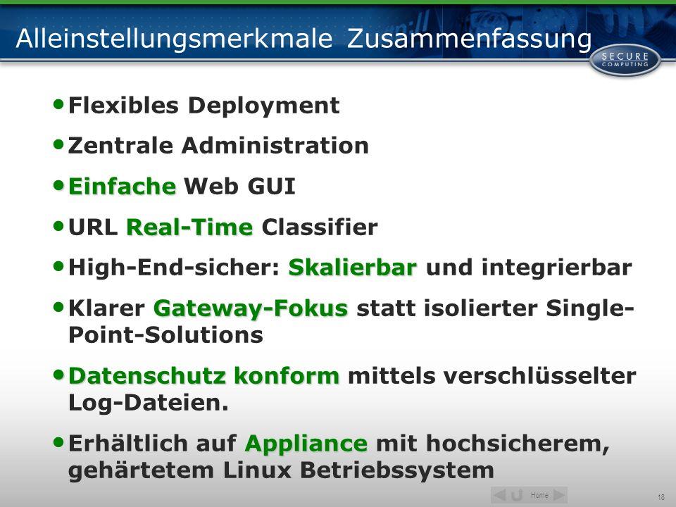 Home 18 Alleinstellungsmerkmale Zusammenfassung Flexibles Deployment Zentrale Administration Einfache Einfache Web GUI Real-Time URL Real-Time Classif
