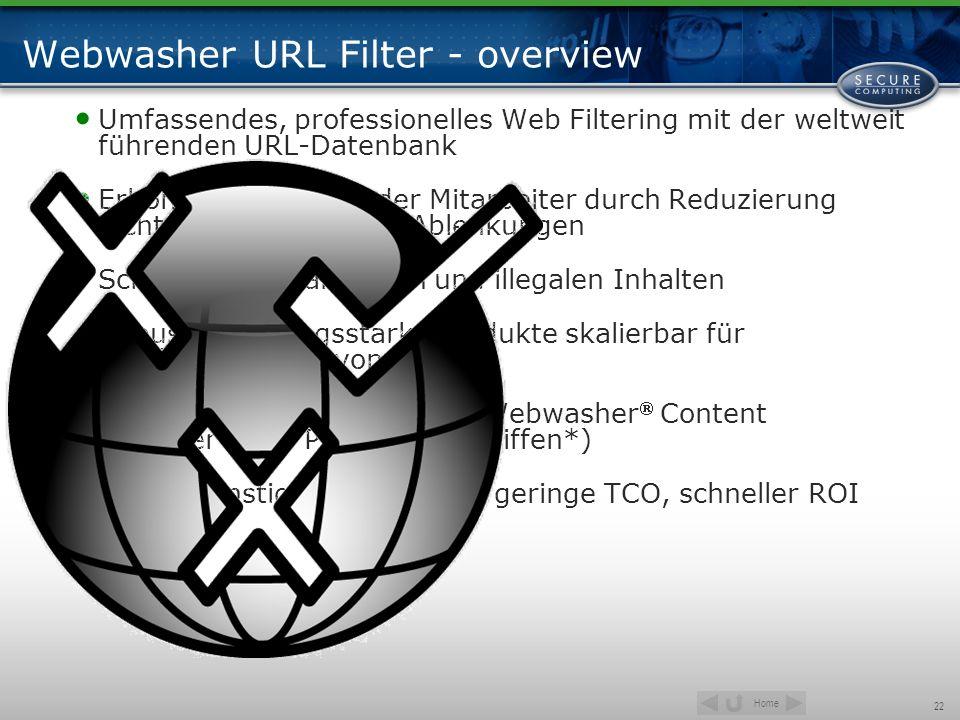 Home 22 Webwasher URL Filter - overview Umfassendes, professionelles Web Filtering mit der weltweit führenden URL-Datenbank Erhöht Produktivität der M
