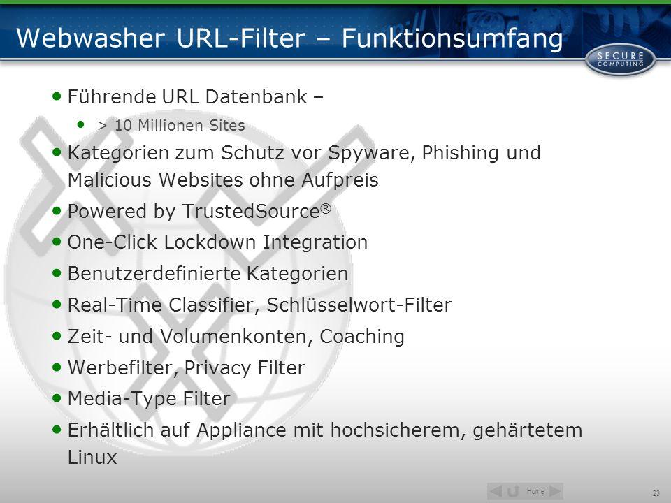 Home 23 Webwasher URL-Filter – Funktionsumfang Führende URL Datenbank – > 10 Millionen Sites Kategorien zum Schutz vor Spyware, Phishing und Malicious