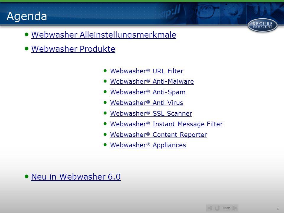 Home 17 Alleinstellungsmerkmale Zusammenfassung TrustedSource Integration zu TrustedSource Reputationsdatenbank Anti-Malware: Führend bei Erkennung von Spyware, Trojanern, targeted attacks etc.