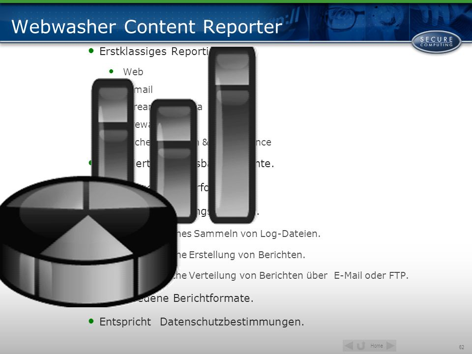 Home 62 Webwasher Content Reporter Erstklassiges Reporting über Web E-mail Streaming media Firewall Cache utilization & performance Detaillierte, anpa