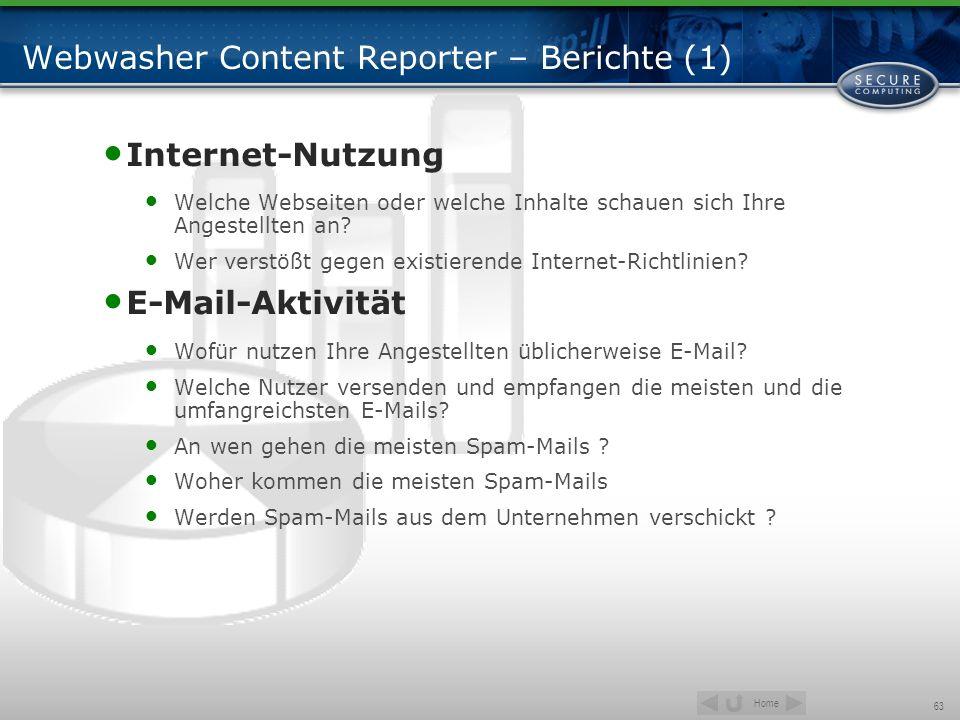 Home 63 Webwasher Content Reporter – Berichte (1) Internet-Nutzung Welche Webseiten oder welche Inhalte schauen sich Ihre Angestellten an? Wer verstöß