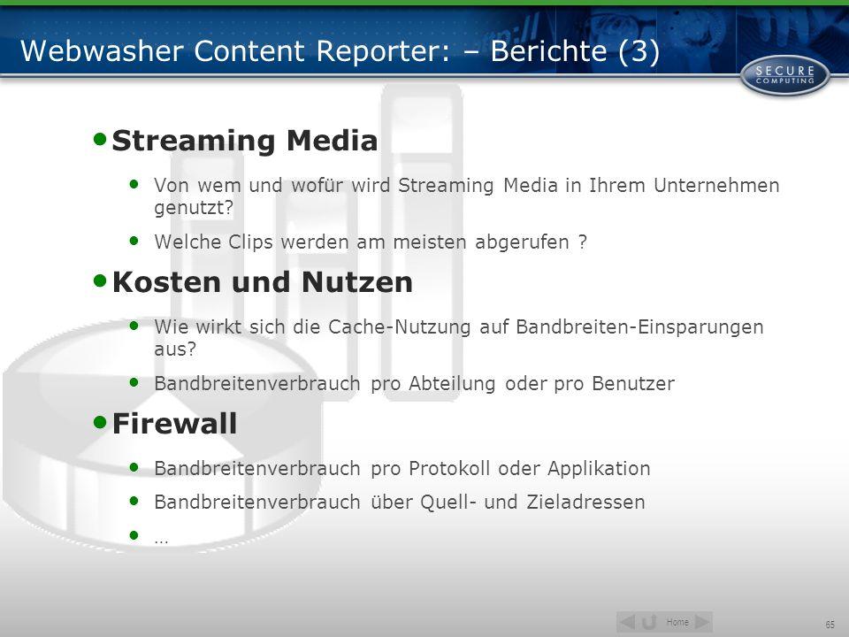 Home 65 Webwasher Content Reporter: – Berichte (3) Streaming Media Von wem und wofür wird Streaming Media in Ihrem Unternehmen genutzt? Welche Clips w