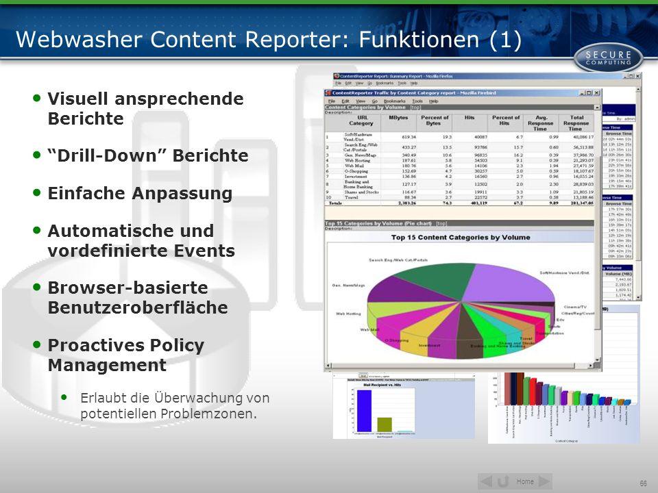Home 66 Webwasher Content Reporter: Funktionen (1) Visuell ansprechende Berichte Drill-Down Berichte Einfache Anpassung Automatische und vordefinierte