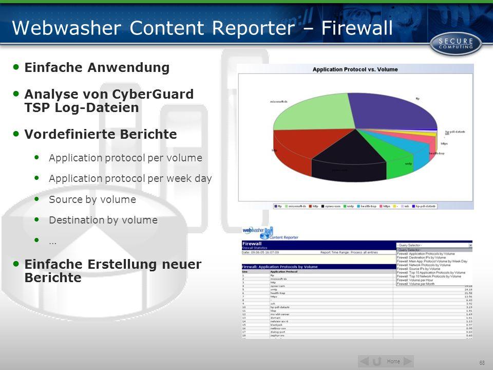 Home 68 Webwasher Content Reporter – Firewall Einfache Anwendung Analyse von CyberGuard TSP Log-Dateien Vordefinierte Berichte Application protocol pe