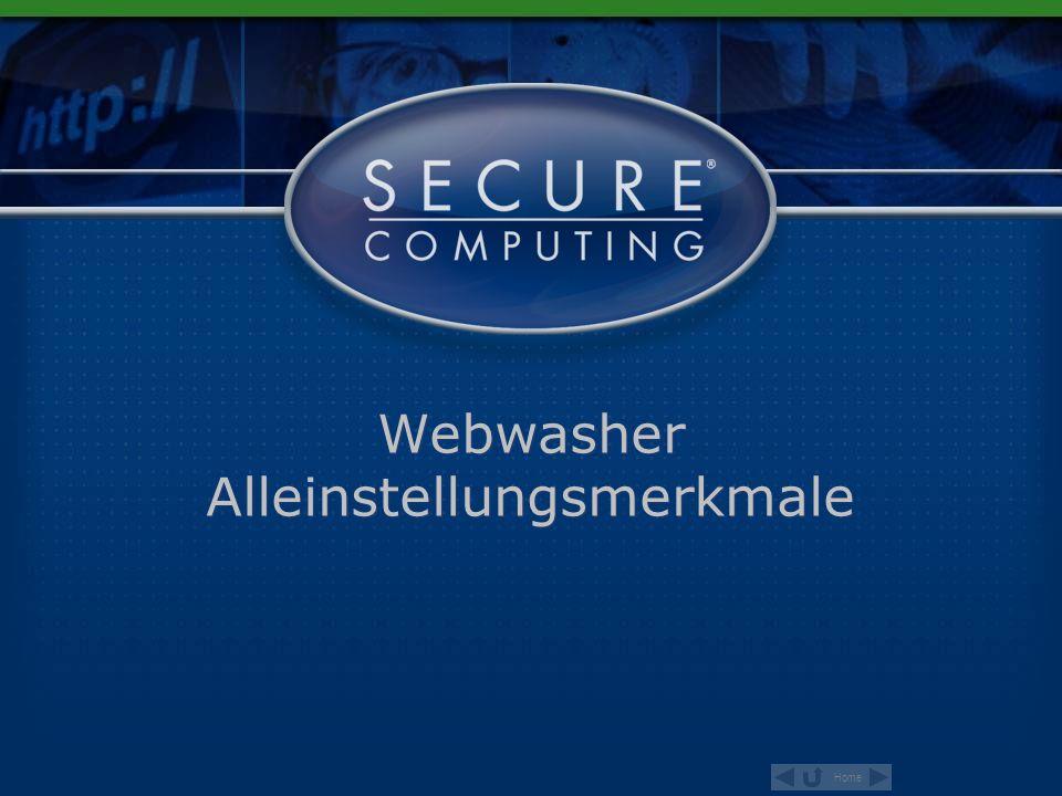 Home 78 6.0 Product Overview Malware & Phishing URLs powered by TustedSource ® Webwasher URL Filter verhindert unproduktives Surfen, filtert gefährliche Inhalte, minimiert rechtliche Risiken und reduziert bandbreitenintensive Inhalte.