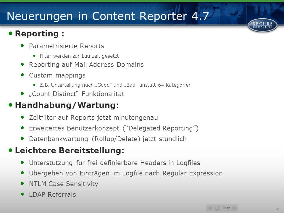 Home 86 Neuerungen in Content Reporter 4.7 Reporting : Parametrisierte Reports Filter werden zur Laufzeit gesetzt Reporting auf Mail Address Domains C