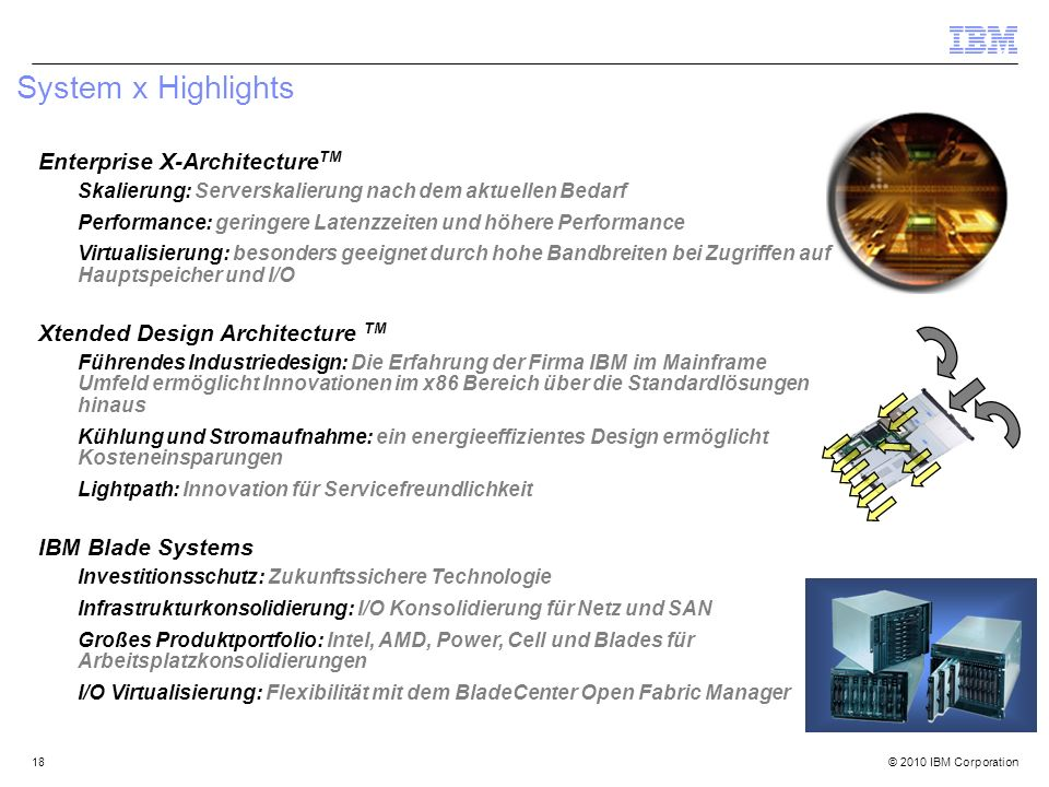 © 2010 IBM Corporation18 System x Highlights Enterprise X-Architecture TM Skalierung: Serverskalierung nach dem aktuellen Bedarf Performance: geringer