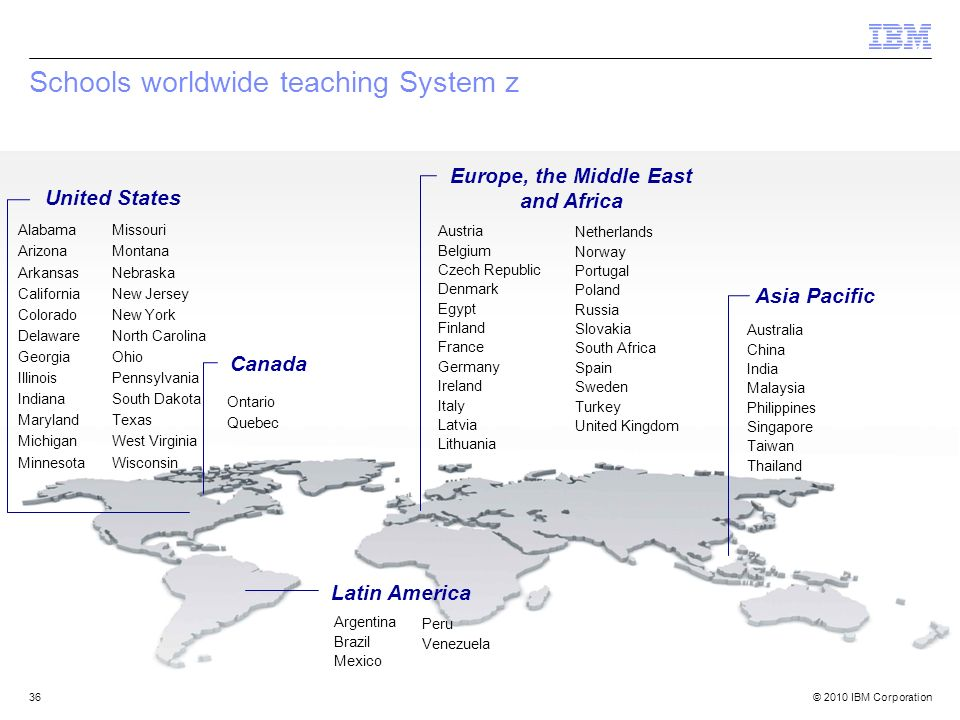 © 2010 IBM Corporation36 Schools worldwide teaching System z United States Alabama Arizona Arkansas California Colorado Delaware Georgia Illinois Indi