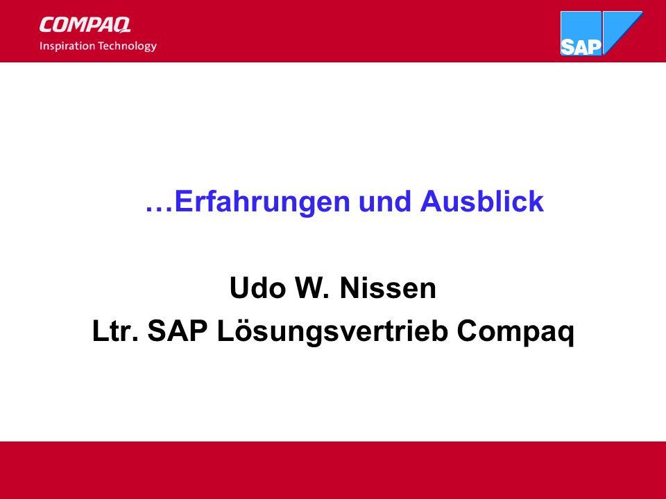 Serverkonsolidierung Dank neuer Technik: Unix = Compaq GS160 / GS320 mit Software und HardwarePartitioning ( Pilotkunde Q4 2000) (...und wenn gewünscht CPUs Freischaltung nach Bedarf) WINTEL mit mehr als 8 Prozessoren / Server ( Pilotinstallationen Q4 2001) MS Datacenter, Plattform für SAP?