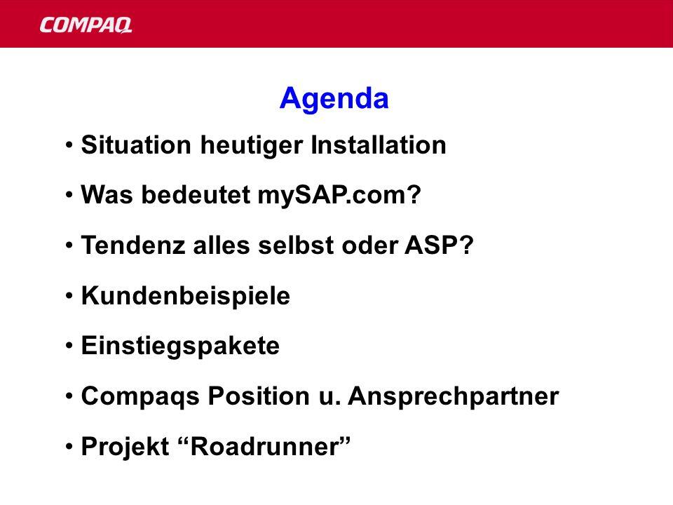 Agenda Situation heutiger Installation Was bedeutet mySAP.com.